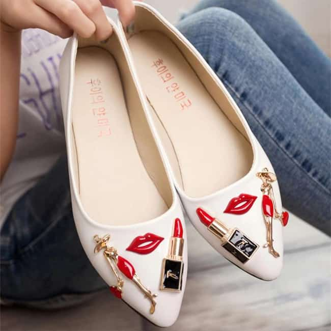Great Red Lip Flat Casual Shoes for Females