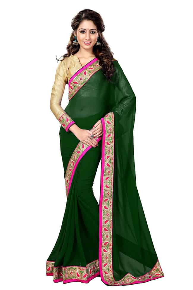 Green Georgette Saree for Evening Party 2016