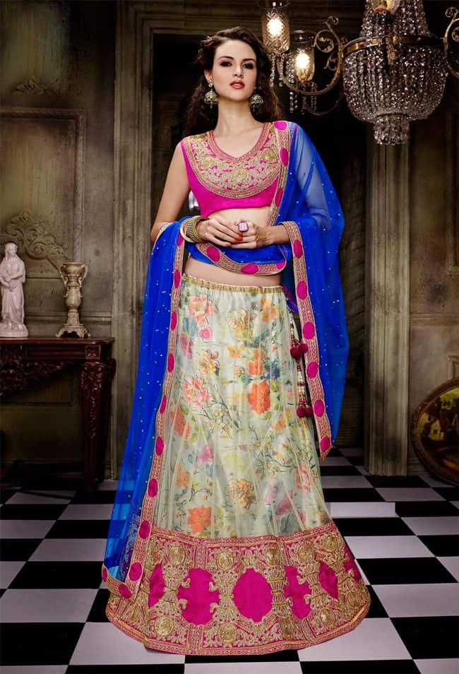 Indian Bridal Floral Lehnga Choli Ideas for Summer