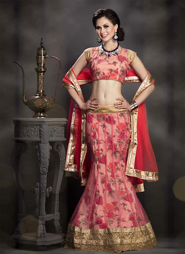 Latest Pink Net Floral Lehenga Choli 2017