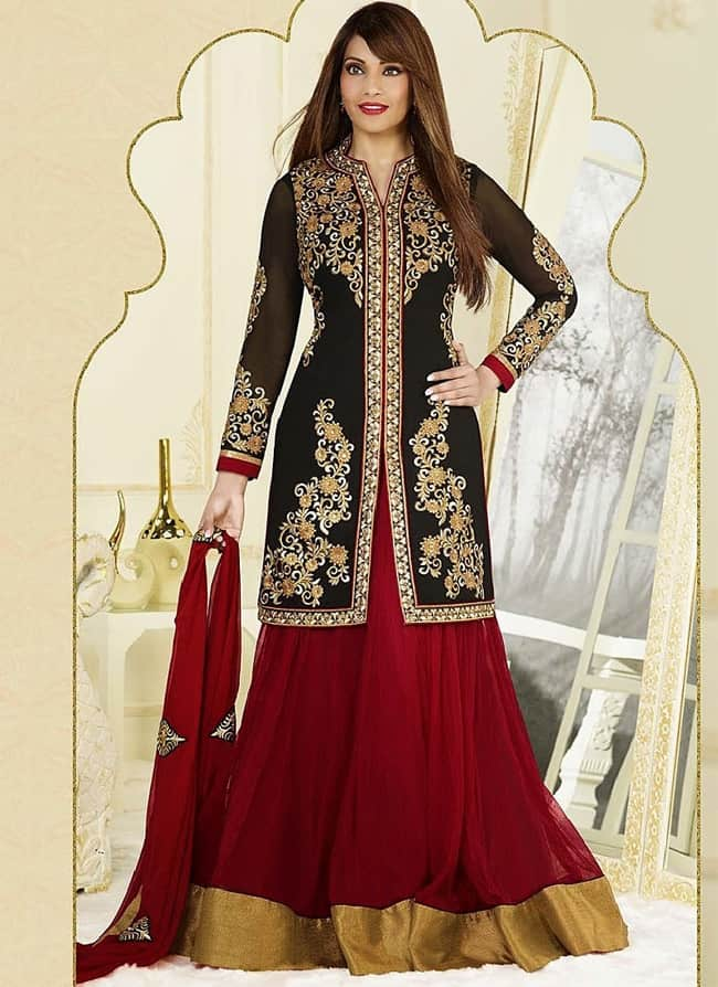 Latest Red and Black Georgette Anarkali Suits