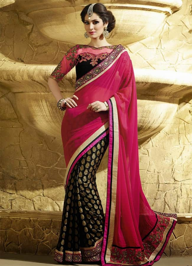 Magenta and Black Georgette Bridal Saree for Party