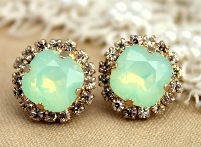 Mint Opal Bridal Earrings Designs 2016