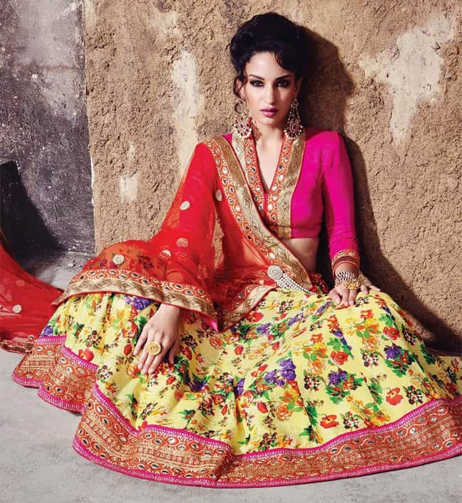 Multicolor Floral Embroidered Lehnega Choli for Women