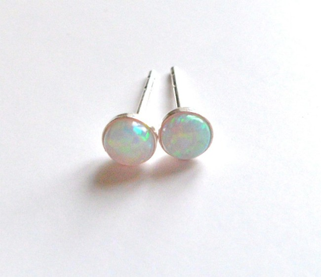 Natural Opal Small Sterling Silver Tops