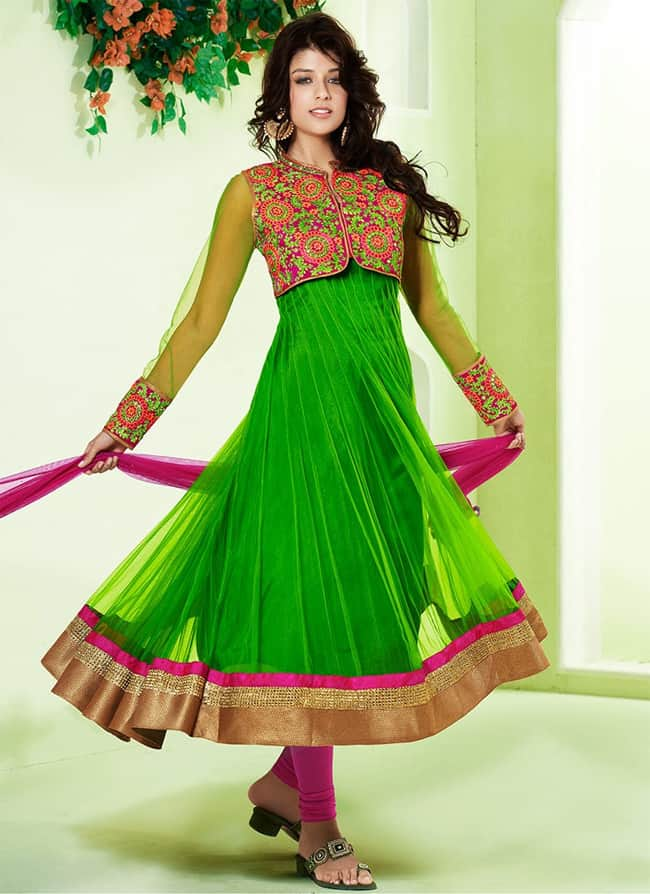 New Green Designer Anarkali Suit for Girls