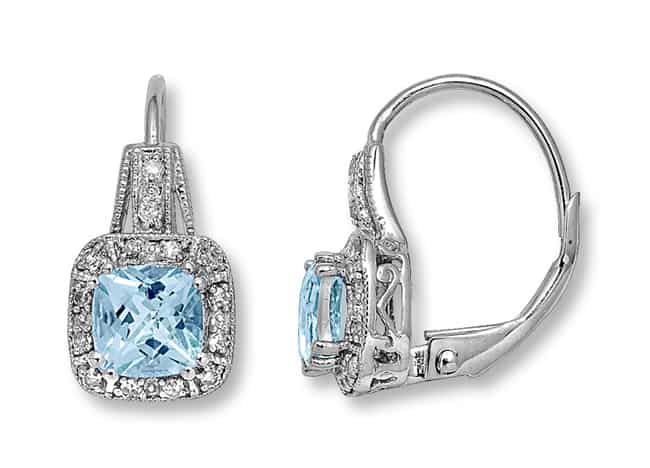 New White Gold Aquamarine Earrings for Brides