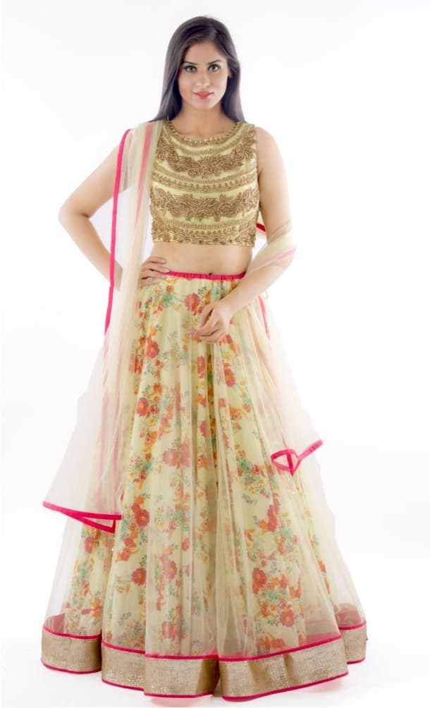 Party Wear Floral Lehenga Choli Designs