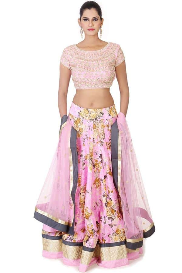 Pink Floral Printed Lehenga Choli Ideas for Wedding