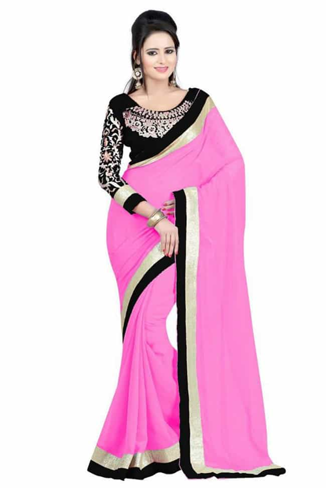 Pink and Black Evening Party Wear Saree 2016