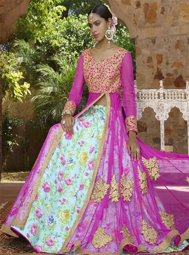 Pink and Blue Floral Designer Lehenga Choli Design