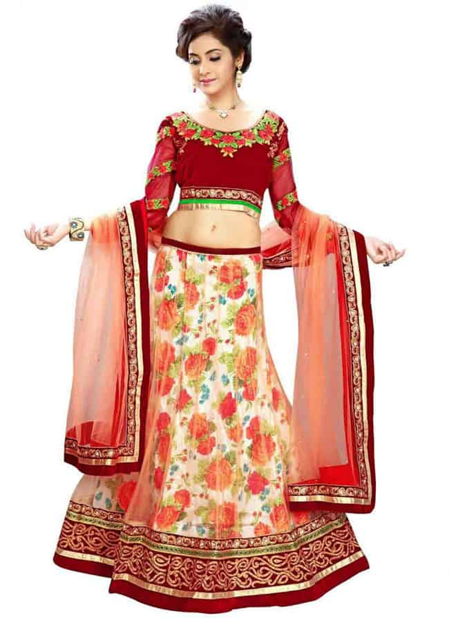 Red Silk Blouse floral lehenga choli designs