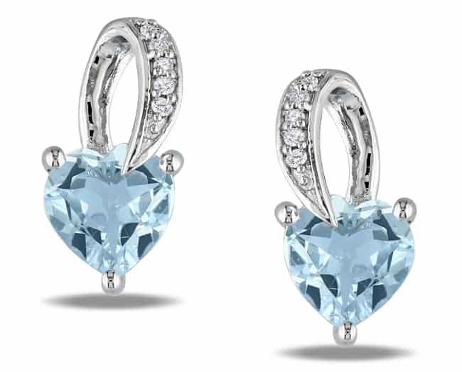Silver Aquamarine Heart Shaped Earrings for Girls