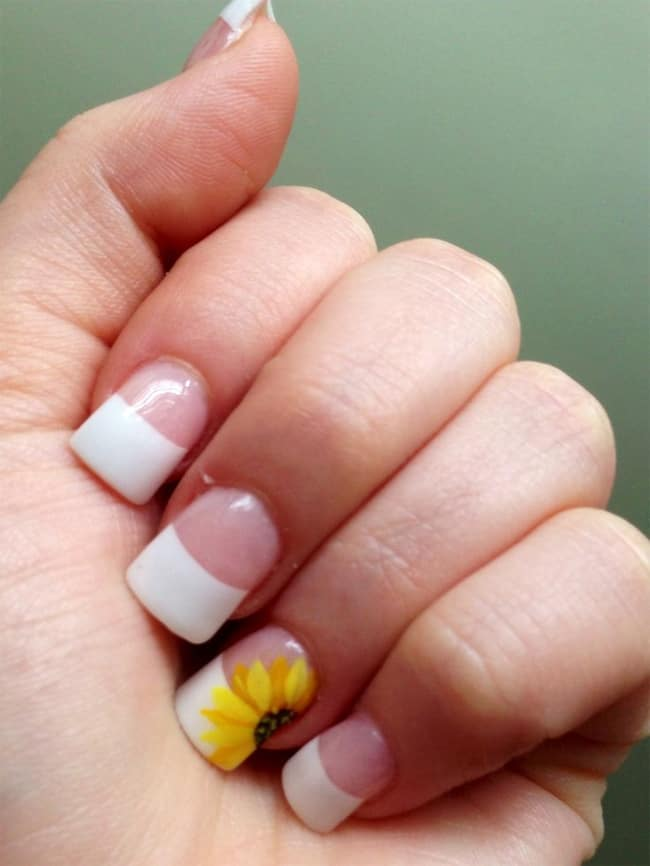 Simple French Nail Design with Sunflower 2016