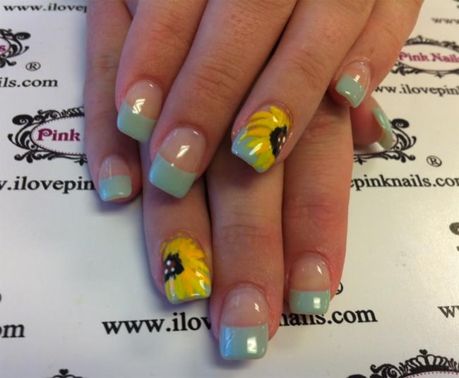 Small Sunflower Nails Art Design for Girls