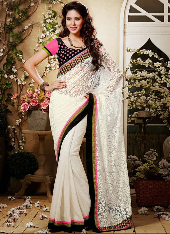 Stunning Off White Party Wear Saree Dresses