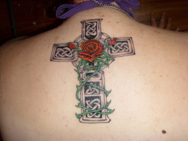 Stylish Celtic Cross and Rose Tattoo Designs
