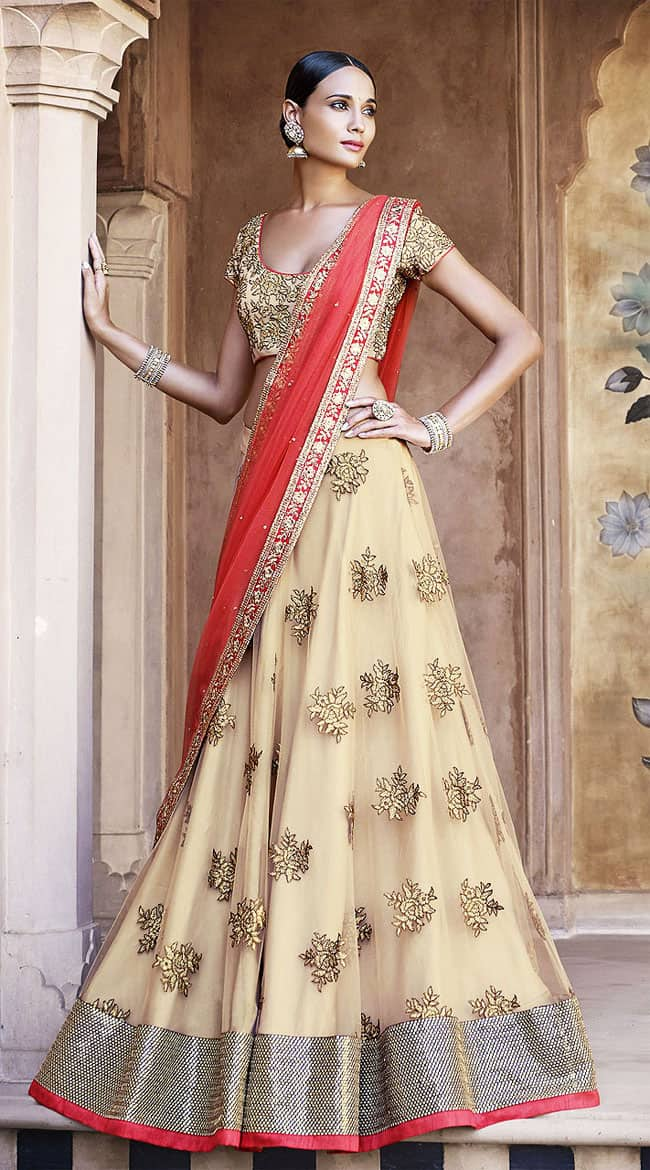 Stylish Net Lehenga Choli With Floral Design