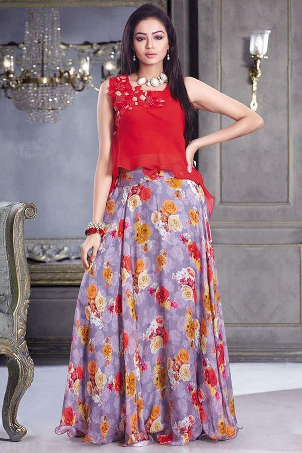 Summer Floral Pattern Lehenga Choli for Girls