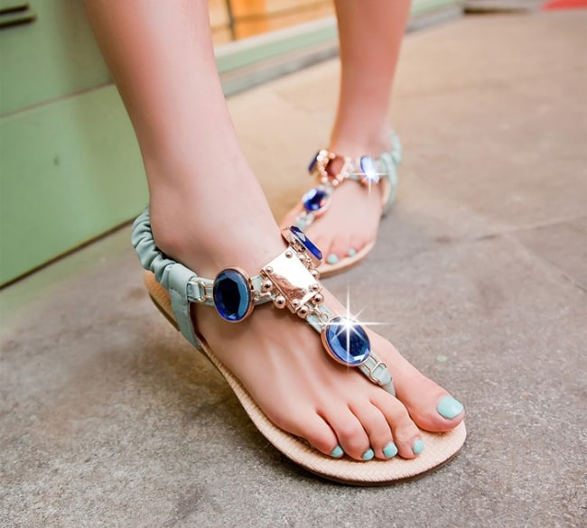 Summer Rhinestone Flip Flops Casual Flat Shoes