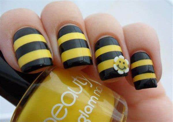 Summer Yellow Sunflower Nail Art Designs