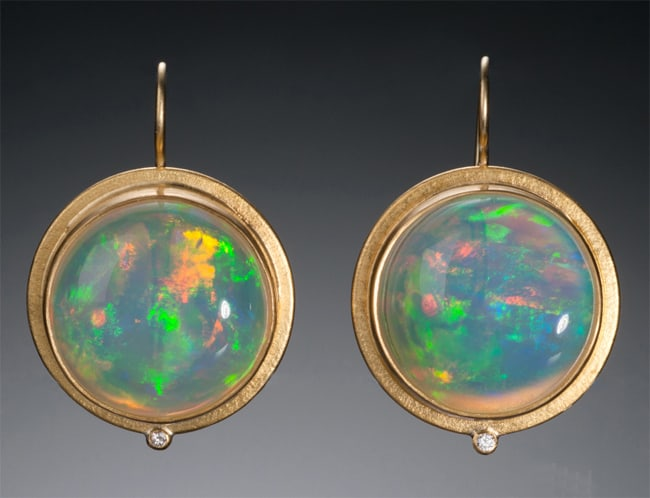 Trendy Ethiopian Opal Women Earrings 2017