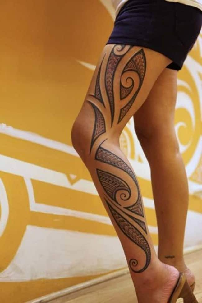 Trendy Full Leg Polynesian Tattoo for Girls