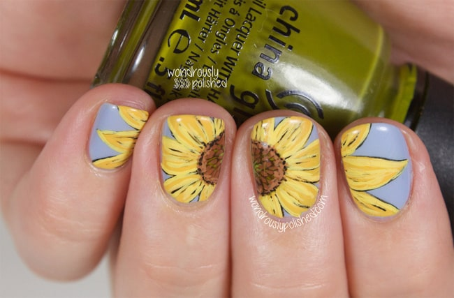Trendy Sunflower Nail Paint Ideas