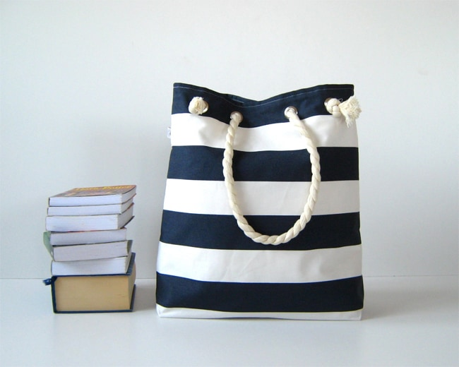 White and Blue Beach Tote Bags for Girls