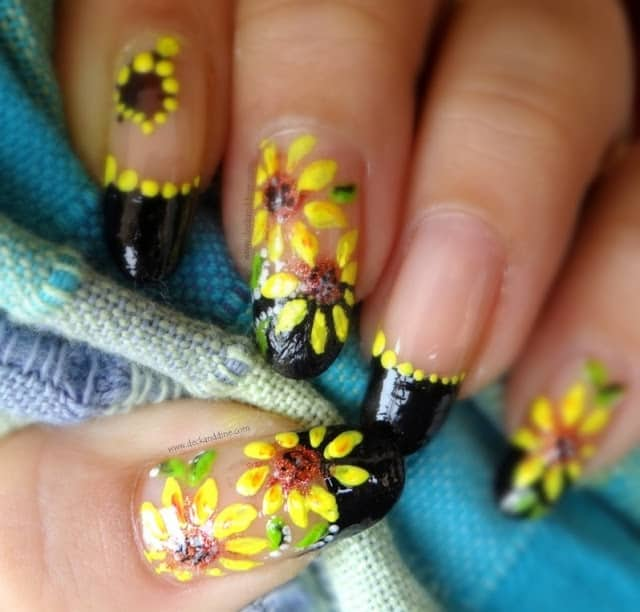 Winter Sunflower Nail Design 2018
