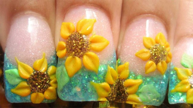 Wonderful Sunflower Acrylic Nails Designs