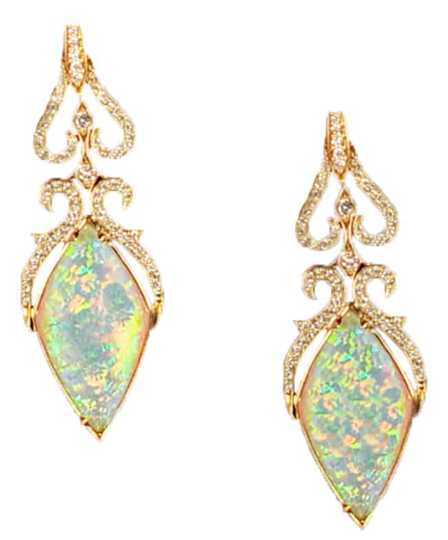 Yellow Gold Diamond Opal Earring Designs