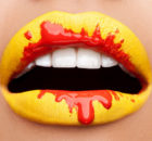 Yellow and Red Lip Art Design for Party