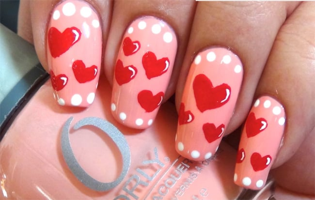 Attractive Heart Nail Designs for Long Nails