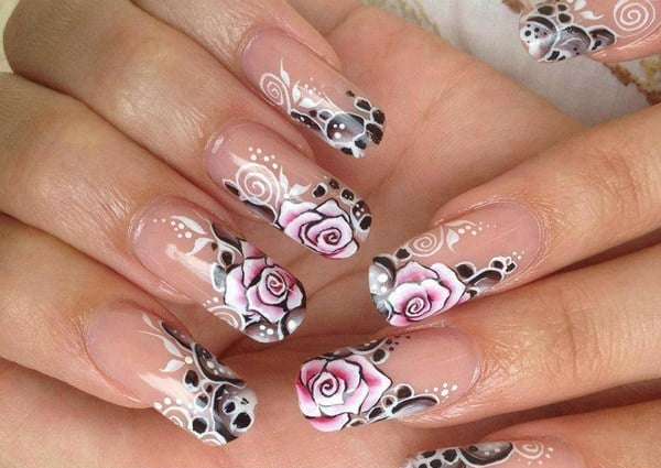 Attractive Rose Eid Nail Art Designs