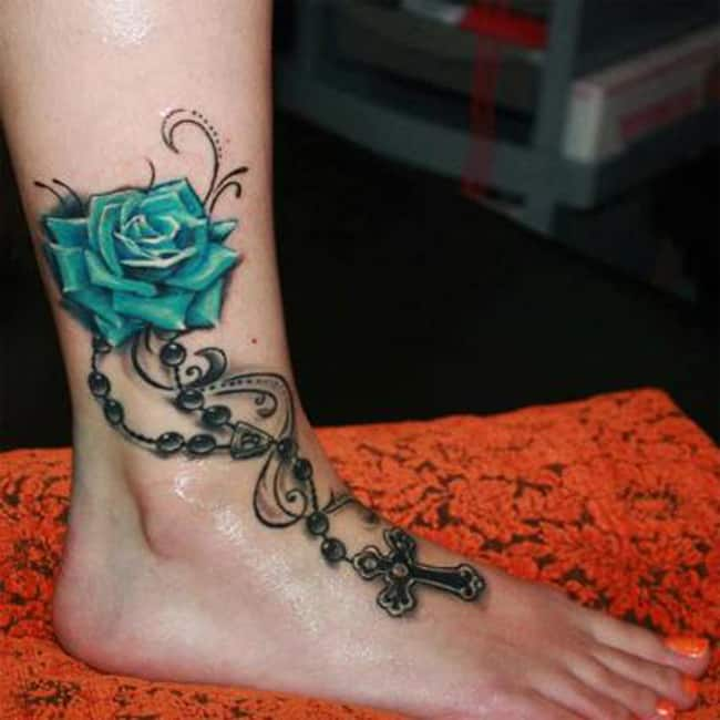 Best Ankle Green Rose Tattoo Patterns 2017
