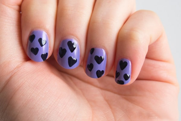 Black Heart Shaped Nails Art for Party
