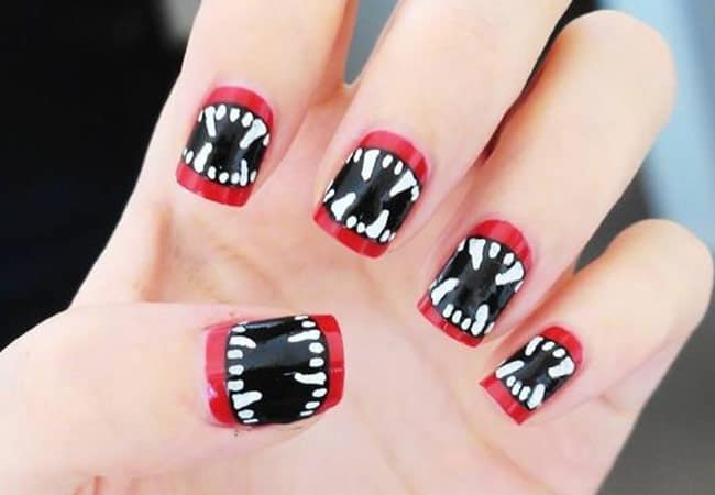 Black and Red Funky Nail Designs 2016