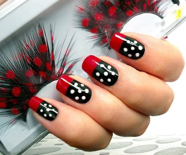 Black and Red Nail Art Designs for Eid Ul Azha