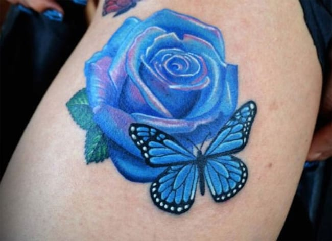 Blue Rose Flower Tattoo Ideas 2016