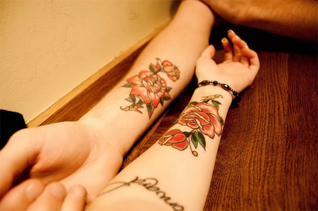 Boyfriend and Girlfriend Matching Rose Flower Tattoos