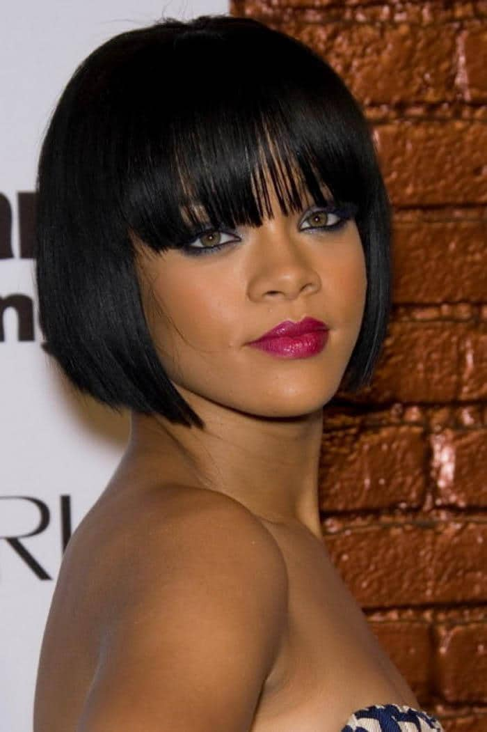 Celebrity Short Black Hairstyles With Bangs 2016