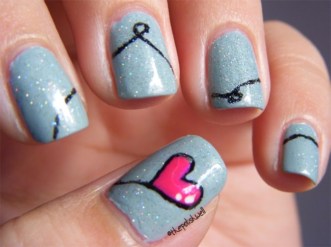 Cool Heart Nail Designs for Valentines Day
