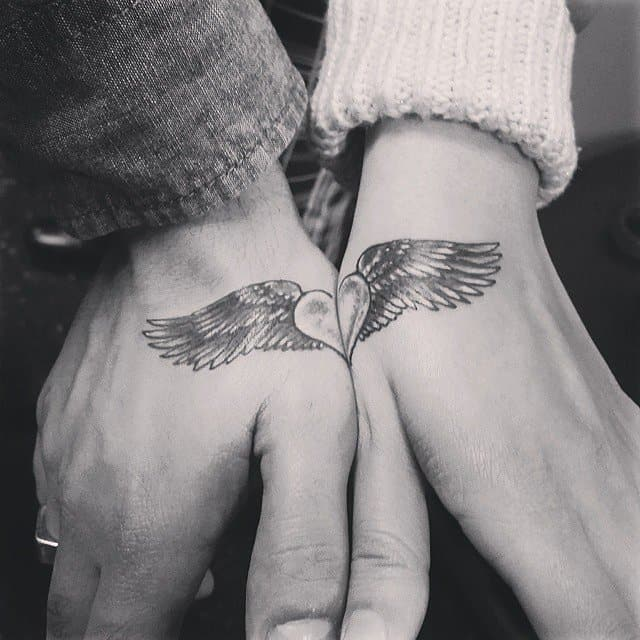 Couple Heart and Wings Tattoo Designs on Hands
