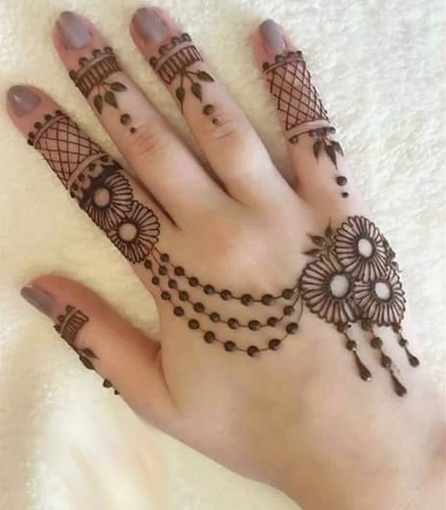 Cute Back Hand Mehndi Designs for Wedding