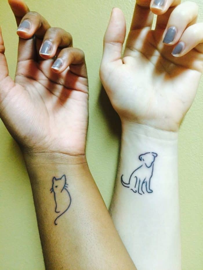 20 cute boyfriend and girlfriend tattoos sheideas for Cat asshole tattoo