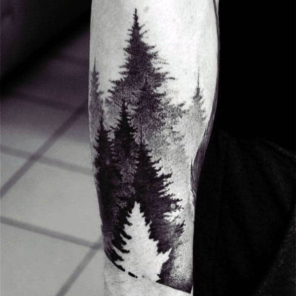Elegant Tree Forest Negative Space Tattoos 2016