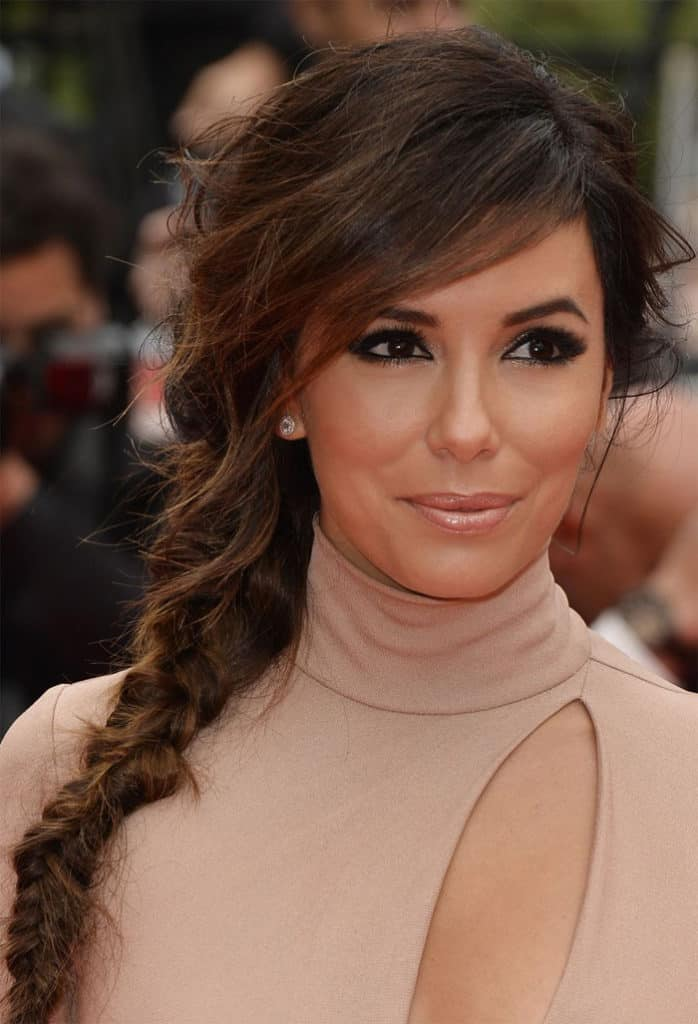 Eva Longoria Side Fishtail Hairstyle For Wedding