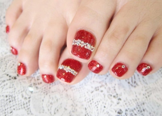 Festival Red Eid Feet Nail Art for Wedding