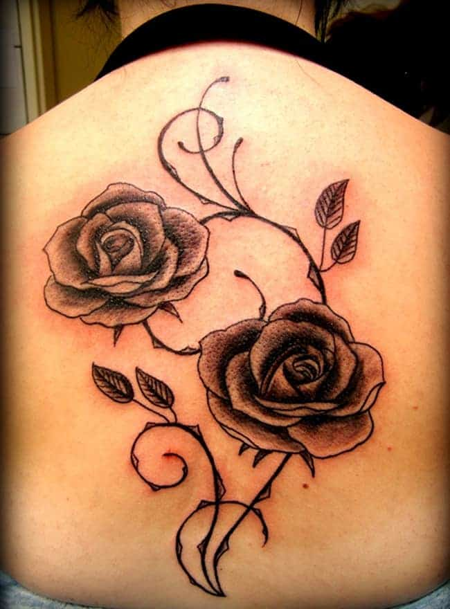 Full Back Rose Tattoo Designs for Women